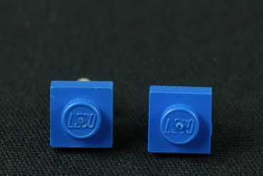 Lego Earrrings Ear Studs Earstuds Miniblings Play Games Upcycling Blue Square – Bild 3