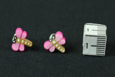 Dragonfly Earrrings Ear Studs Earstuds Miniblings Dragonfly Insect Pink Brown 1cm – Bild 2