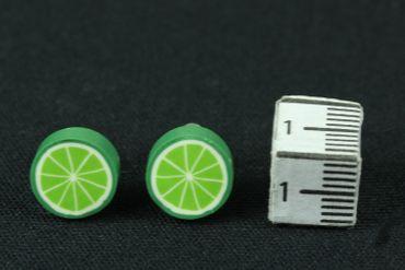 Limette Ohrstecker Miniblings Stecker Ohrringe Obst Frucht Lime grün rund 1cm – Bild 2