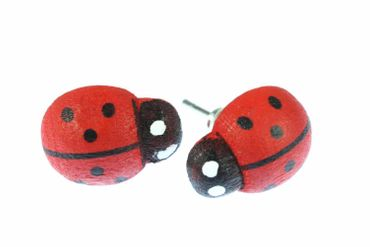 Ladybug Earrrings Ear Studs Earstuds Miniblings Beetle Easter Kids Wooden – Bild 1
