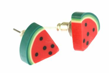 Melon Earrrings Ear Studs Earstuds Miniblings Melons Watermelon Fruit Eighth – Bild 1