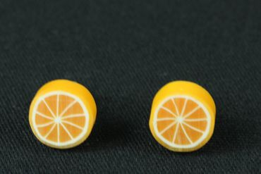 Orange Ohrstecker Miniblings Stecker Ohrringe Orangen Frucht Obst rund 1cm – Bild 3