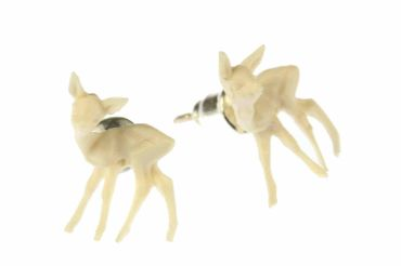 Reh Bambi Ohrstecker Miniblings Ohrringe Rehkitz Weihnachten Hirsch weiß  – Bild 4