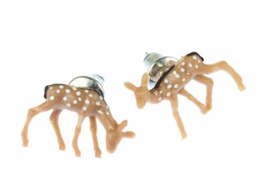 Deer Bambi Earrrings Ear Studs Earstuds Miniblings Christmas Deer Dots Brown – Bild 3