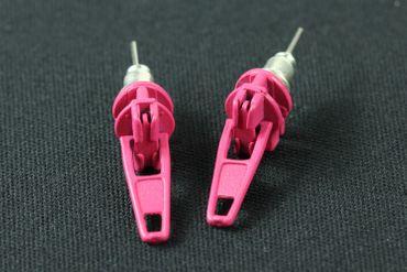 Reißverschluss Zipper Zip Ohrstecker Miniblings Stecker Ohrringe Upcycling pink – Bild 4