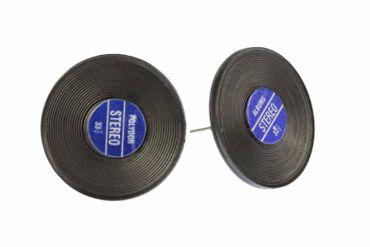 Record Earrrings Ear Studs Earstuds Miniblings Dj Music Vinyl Lp Band Star Blue  – Bild 1