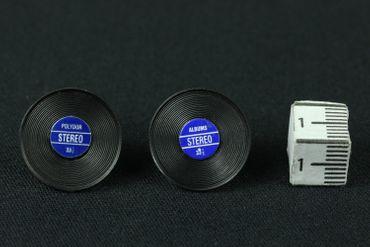 Record Earrrings Ear Studs Earstuds Miniblings Dj Music Vinyl Lp Band Star Blue – Bild 3