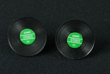 Record Earrrings Ear Studs Earstuds Miniblings Dj Music Vinyl Band Star Green – Bild 3