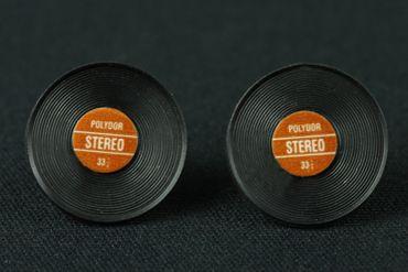 Record Earrrings Ear Studs Earstuds Miniblings Dj Music Vinyl Band Star Red – Bild 2
