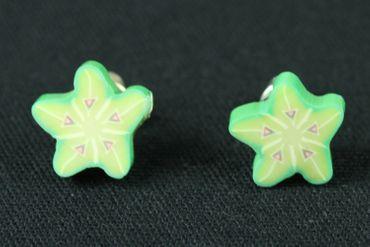 Sternfrucht Ohrstecker Miniblings Stecker Ohrringe Karambola Frucht Obst grün – Bild 3