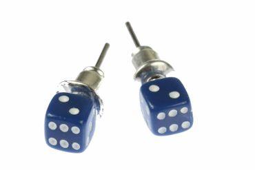 Würfel Ohrstecker Miniblings Stecker Ohrringe Spiel Kasino Spielen 3D 5mm blau – Bild 1