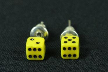 Würfel Ohrstecker Miniblings Stecker Ohrringe Spiel Kasino Spielen 3D 5mm gelb – Bild 2
