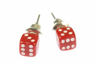 Dice Earrrings Ear Studs Earstuds Miniblings Casino Board Game Play 3D 5mm Red – Bild 1