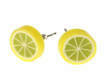 Lemon Miniblings Earrrings Ear Studs Earstuds Lemons Fruit Fruits Food Sour Green – Bild 1