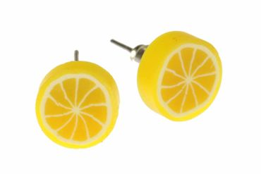 Lemon Miniblings Earrrings Ear Studs Earstuds Lemon Fruit Fruit Sour Food Yellow Round – Bild 1