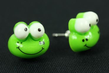 Frog Frog Miniblings Earrrings Ear Studs Earstuds Frogs Animal Nature Children Green – Bild 3