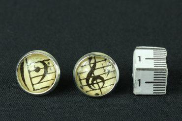 Clef Cabochon Miniblings Earrrings Ear Studs Earstuds Treble Clef Notes Music Earrrings Ear Studs Earstuds 12mm – Bild 2