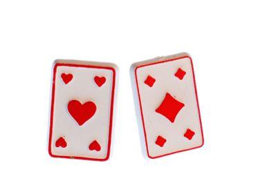 Card Playing Cards Miniblings Earrrings Ear Studs Earstuds Earrrings Ear Studs Earstuds Skat Poker Black-Jack Game Red – Bild 1