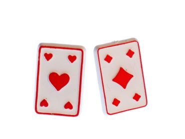 Karten Stecker Miniblings Ohrstecker Ohrringe Skat Poker Pokern Spielkarten rot – Bild 1