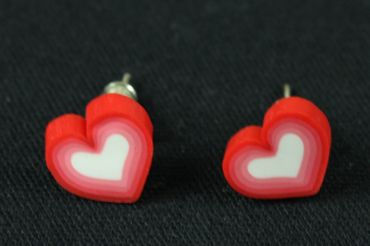 Heart Earrrings Ear Studs Earstuds Miniblings Love Hearts Valentine White Red – Bild 3