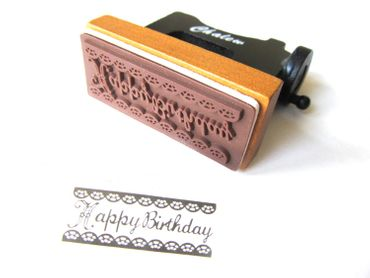 Stempel HAPPY BIRTHDAY Form Nähmaschine Miniblings Stamp Stempeln 5x2cm Holz – Bild 2