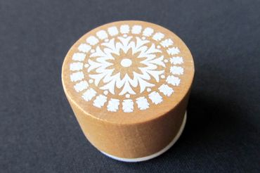 Stamp Flower Miniblings Scrapbook Scrapbooking Round 28mm Wood – Bild 2
