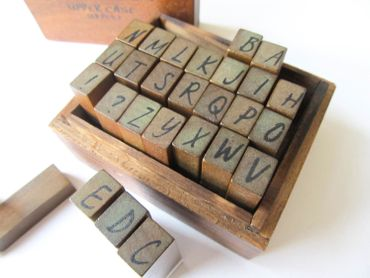 26X Stamp Letters Letter Initials ABC Handwriting Miniblings Wooden Box + – Bild 3