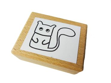 Stamp Scrapbook Scrapbooking Kids Children Kalle Fux Cat Squirrel Wood Crafted 3 3X2 4cm – Bild 1