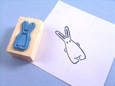 Stamp Scrapbook Scrapbooking Kids Children Kalle Fux Rabbit Easter Bunny Handmade 2.5cm – Bild 2