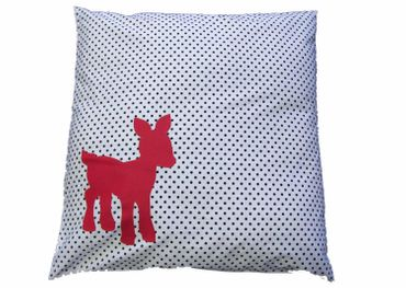 Decorative Cushion Pillow Miniblings 40X40cm Deer 70S Retro White Polka Dots Black Red – Bild 1