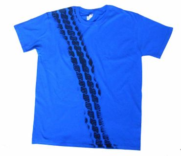 Tire Mark Tire Track T-Shirt Tshirt Road Print Men Brakes Braking Tire Car Blue – Bild 1