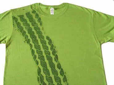 REIFENSPUR T-Shirt Shirt Road Print Herren Bremsspur Reifen Tshirt Auto grün – Bild 2