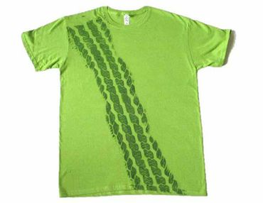 Tire Mark Tire Track T-Shirt Tshirt Road Print Men Brakes Braking Tire Car Green  – Bild 2