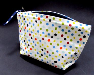 Make-Up Bag Cosmetic Bag Wash Bag Make Up Miniblings White Dots Colorful – Bild 3