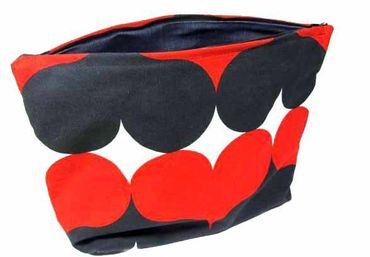 XL Wash Bag Cosmetic Bag Miniblings 30X20cm Dots Heart Heart Red Retro – Bild 1