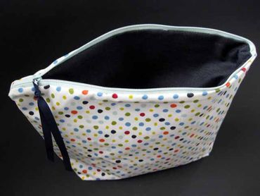 XL Wash Bag Cosmetic Bag Miniblings 30X20cm White Dots Colorful Dots – Bild 4