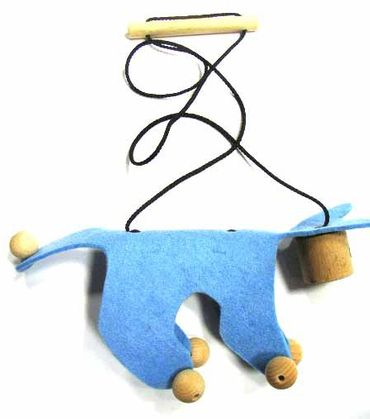 Marionette Puppet Wood Children Felt Kalle Fux Wooden Toys Children Cat Blue – Bild 2