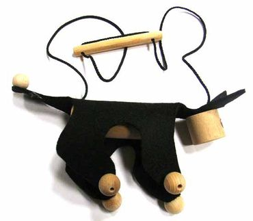 Marionette Puppet Wood Children Felt Kalle Fux Wooden Toys Children Cat Black – Bild 1