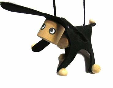 Marionette Puppet Wood Children Felt Kalle Fux Children Child Donkey Dog Black – Bild 1