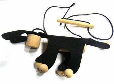 Marionette Puppet Wood Children Felt Kalle Fux Children Child Donkey Dog Black – Bild 2