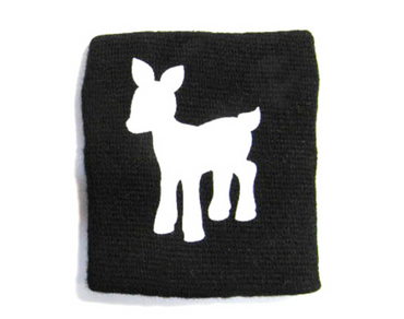 Sweatband Wristband Wrist Warmer With Zipper Pull Purse Miniblings Deer Bambi Black – Bild 2