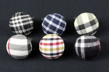 Button Ring Button Miniblings Stoffknopf Fabric Black And White Tones – Bild 3