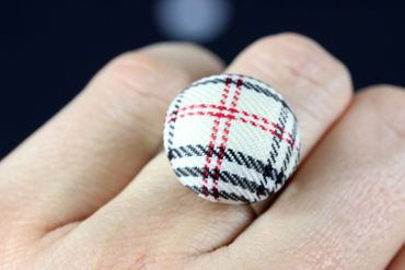 Button Ring Button Miniblings Stoffknopf Fabric Black And White Tones – Bild 4