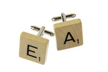 Scrabble WUNSCHBUCHSTABEN Manschettenknöpfe ABC Initialen Miniblings P + ? – Bild 3