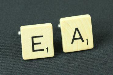 Scrabble WUNSCHBUCHSTABEN Manschettenknöpfe ABC Initialen Miniblings W + ? – Bild 1