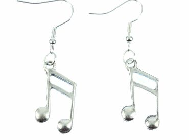 Notes Double Note Semiquaver Sixteenth Earrings 16Th Note Miniblings Music Silver – Bild 2