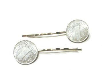 1 Pfennig German Germany GDR East Germany DDR Set Of 2 Hair Clip Hair Pin Clips Pins Hairpins Miniblings Coins Nostalgia New – Bild 3
