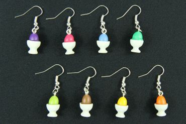 Easter Egg Earrings Colorful Eggs In Porcelain Ceramic Egg Cups Miniblings Eggs Breakfast Egg – Bild 6