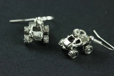 Quad Earrings Terrain Vehicle Miniblings Motorcross Offroad Car Silver Car – Bild 3