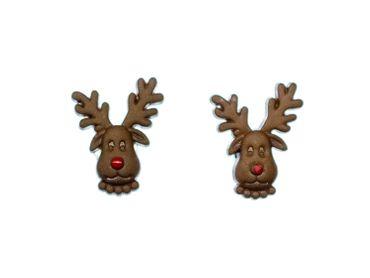 Rentier Rudolph Ohrstecker Miniblings Elch Ren mit roter Nase Weihnachten mini – Bild 2